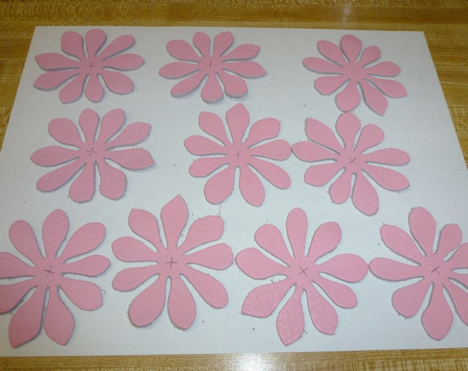 Leather Dahlia Vintage PINWHEEL on PINK KING Cowhide Decorative appliques 10 pieces 3.25-3.5 oz / 1.1-1.2 mm #R17 PeggySueAlso™