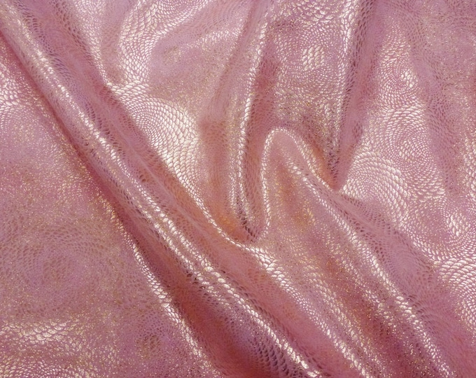 """Leather 5""""x11"""" Chinese Dragon ROSE Gold Metallic On PINK Cowhide 3-3.5 oz / 1.2-1.4 mm PeggySueAlso™ E1420-22 Full hides available"""