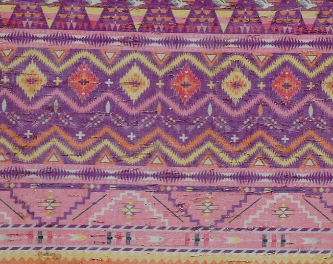 """Cork 8""""x10"""" DOVE ROMANCE Pink / Purple Navajo AZTEC applied to Genuine Leather for body/strength Thick 5oz/2mm PeggySueAlso™ E5610-31"""