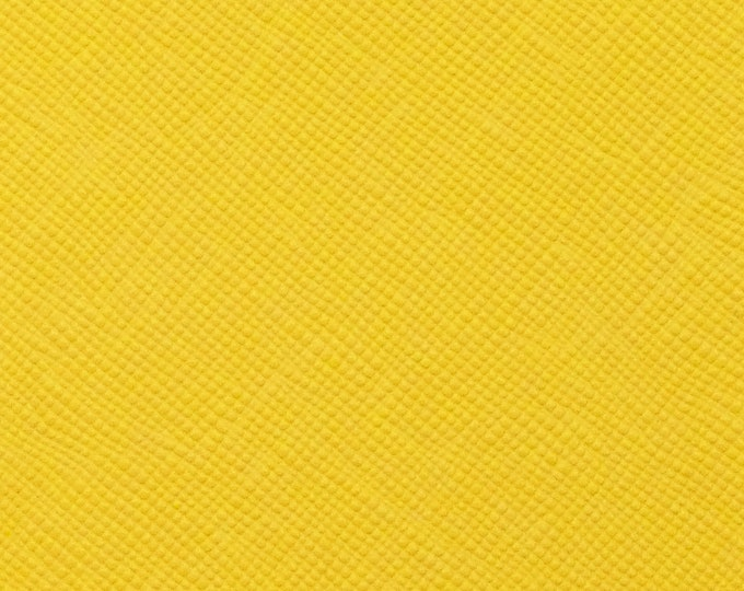 "Leather 12""x12"" Saffiano LEMON YELLOW Weave Embossed ITALIAN Cowhide 3.25-3.5 oz/1-.3-1.4mm PeggySueAlso™ E8201-04 hides available"