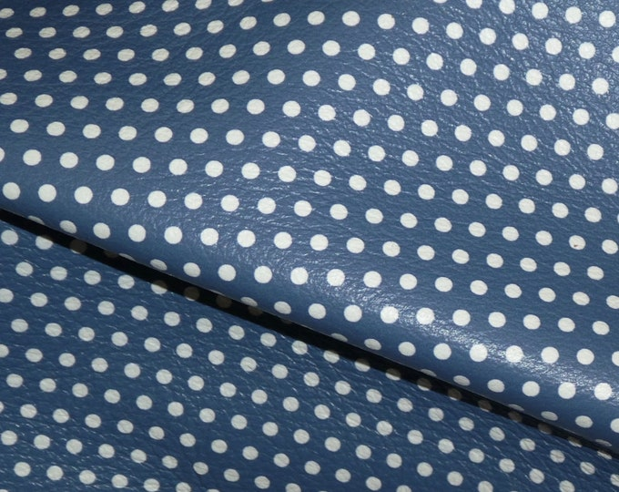"Leather 8""x10"" Small WHITE Polka Dots on Dark DENIM Blue (gray backside) Cowhide 4 dots per inch 3-3.25oz / 1.2-1.3mm PeggySueAlso™ E3090-32"