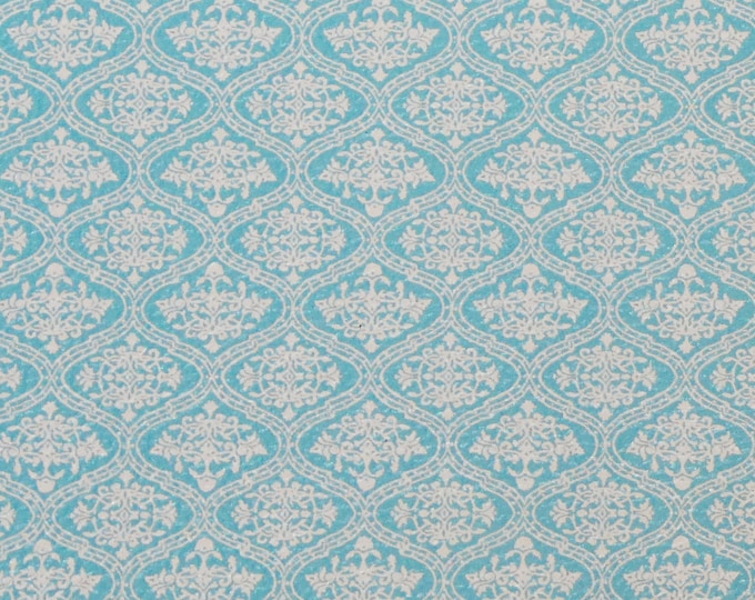 "Genuine Leather 12""x12"" White on TURQUOISE DAMASK Pattern is 1.5"" across each Damask 3-3.25oz/1.2-1.3 PeggySueAlso E1345-03"