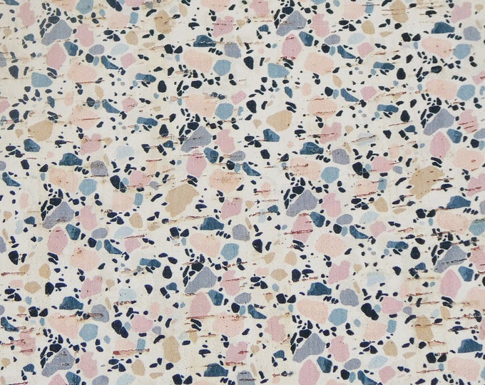 "New dye lot CORK 5""x11"" Marbled GRANITE (pink/gray) on white Cork applied to Leather Thick 5oz/2mm PeggySueAlso E5610-121"