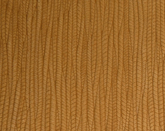 """Leather 12""""x12"""" Palm Leaf DIJON Mustard Cowhide 3-3.25 oz / 1.2-1.3 mm PeggySueAlso™ E3171-12 hides available"""