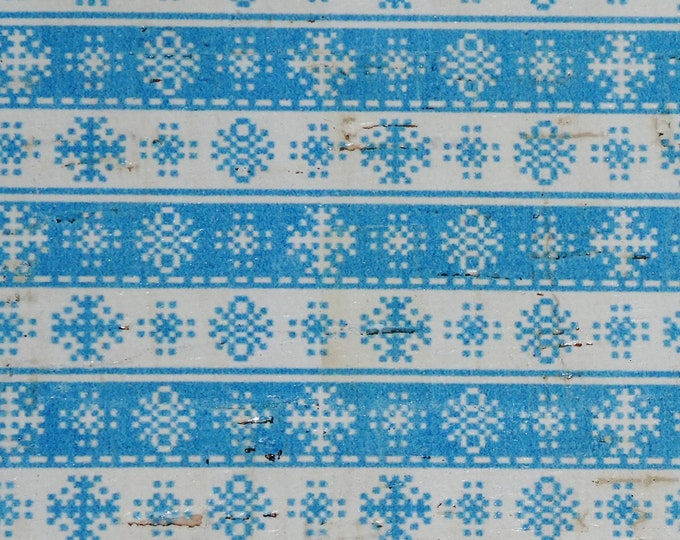 """Cork 4""""x6"""" CHRISTMAS Blue and White SNOWFLAKE Stripes on CORK applied to Leather for body/strength Thick 5oz/2mm PeggySueAlso™ E5610-87"""