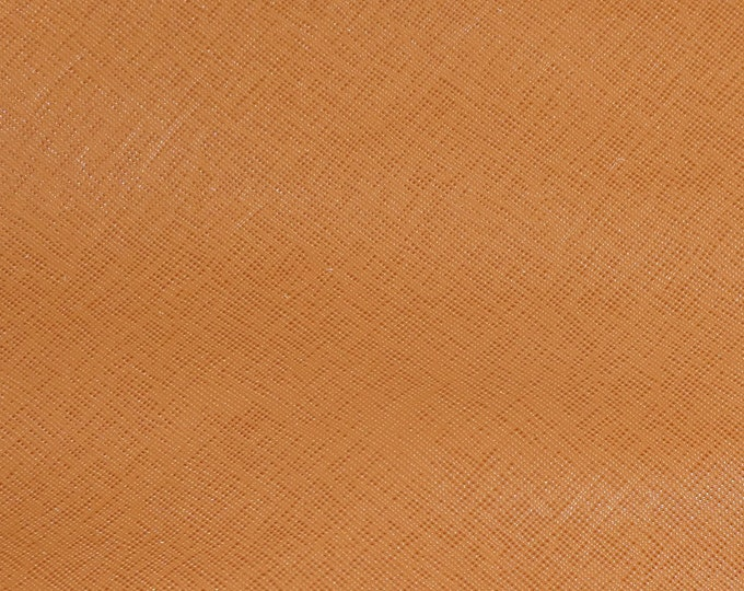 "Leather 8""x10"" Saffiano GINGER Embossed Weave Cowhide 3.25-3.75 oz/ 1.1-1.3 mm PeggySueAlso™ E8201-40 hides available"