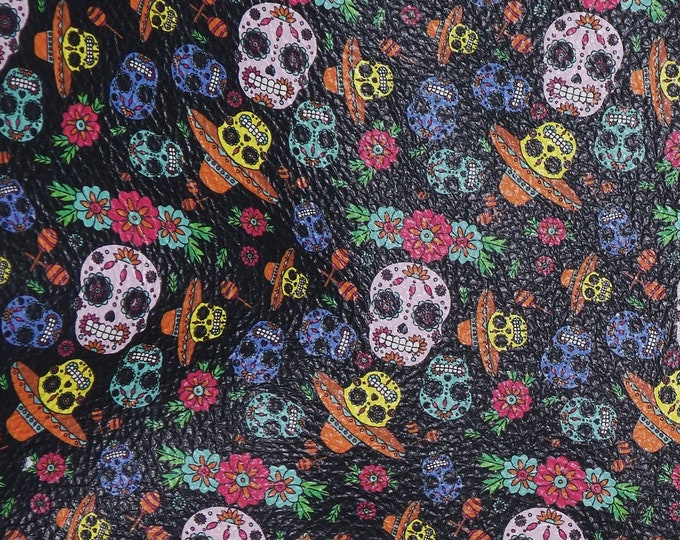 """RESTOCKED Leather  8""""x10"""" Day of the Dead Sugar Skulls NEW 2019 Halloween Cowhide 3-3.5oz/1.2-1.4mm PeggySueAlso™ E4601-16 Hides Available"""