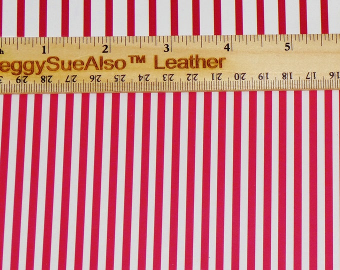 "SMALLER stripe 5""x11"" PETITE Red and White stripes (50% less white) on Cowhide Leather 2.75-3oz/1.1-1.2mm #137 PeggySueAlso™ E3096-02"