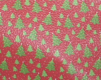 """NEW Leather 8""""x10"""" Christmas TREES in the SNOW on Red Cowhide 2.75-3 oz/1.1-1.2 mm PeggySueAlso™ E1382-03 hides available"""