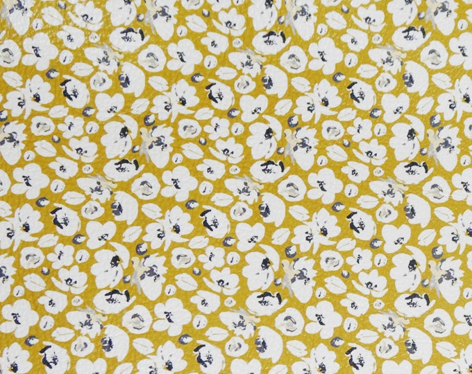 Leather 3-4-5 or 6 sq ft White POPPIES on MUSTARD Floral Cowhide 2.75-3 oz/1.1-1.2 mm PeggySueAlso™ E2140-02