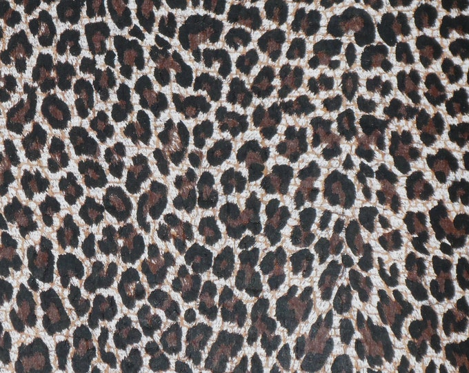 "Cork leather 8""x10"" CoRK w/ Baby CHOCOLATE CHEETAH applied to Cowhide (ReAD DESCRIPTION!!) Thick 5oz/2mm PeggySueAlso™ E5610-105 hides too"