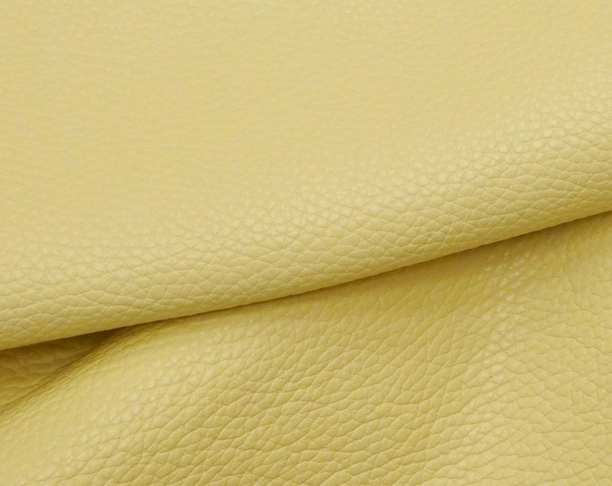 Leather 3 - 4 - 5 sqft Imperial PALE YELLOW Fully Finished Pebble Grain Thick Italian Cowhide 4-4.25oz/1.6-1.7 mm PeggySueAlso™ E3205-03