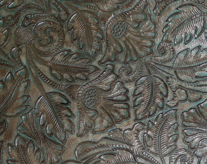 "Leather 12""x20"" Texas Rose AQUA and TAUPE Western Embossed Cowhide 3-3.25 oz/1.2-1.3 mm PeggySueAlso™ E3838-01 hides too"