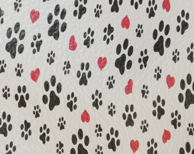 """Leather 8""""x10"""" DOG and CAT Paws with Red HEARTS on White cowhide 3-3.25 oz / 1.2-1.3 mm PeggySueAlso™ E4700-02 hides available"""
