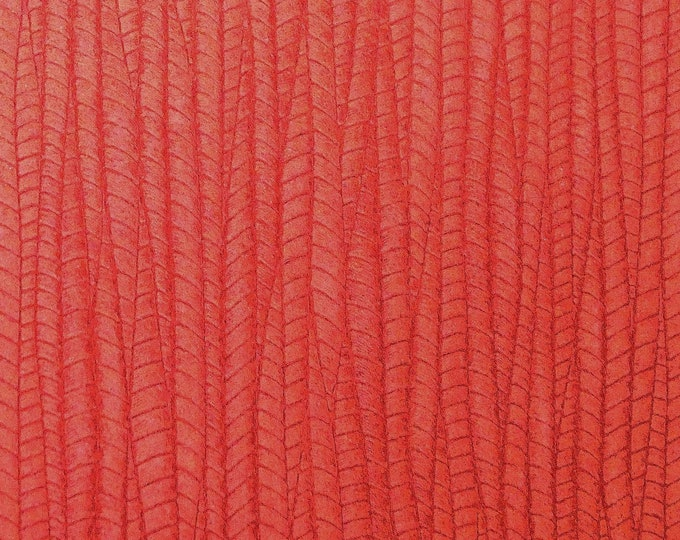 "Leather 8""x10"" Palm Leaf CORAL RED Cowhide 3-3.25 oz / 1.2-1.3 mm PeggySueAlso™ E3171-09 Hides available"