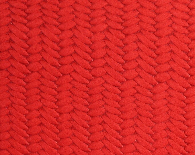 """Leather 8""""x10"""" Braided Fishtail APPLE RED  Soft Cowhide 3 oz / 1.2 mm PeggySueAlso™ E3160-50 Hides Available"""