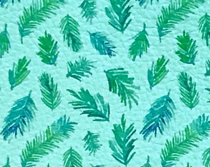 "Leather 12""x12"" Blue / Green Spruce Tree on Aqua (Aqua Suede Backside) Cowhide 3-3.25 oz/1.2-1.3 mm PeggySueAlso™ E1460-01 hides too"