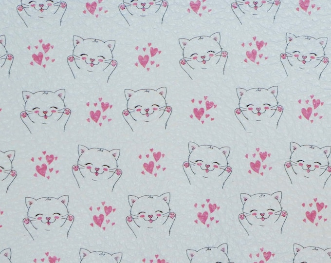 "Leather CLOSE0UT 12""x12"" SWEET Pink KITTY LOVE on White cowhide 3-3.25 oz / 1.2-1.3 mm #100 PeggySueAlso™ E4700-04"