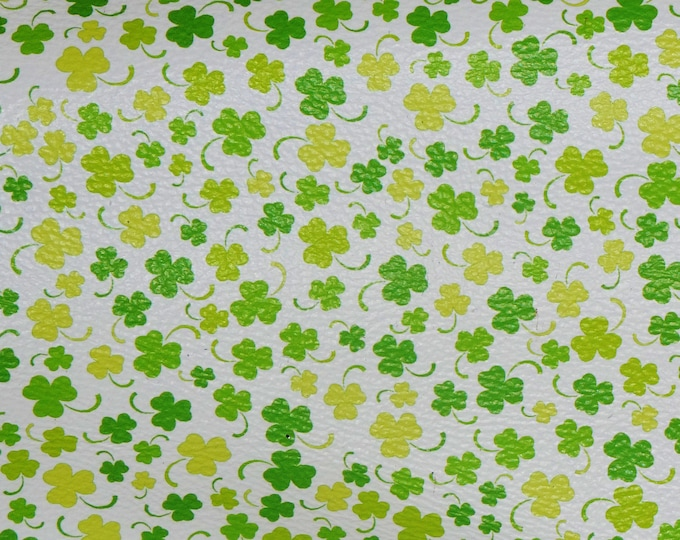 "NEW 12""x12"" St. Patrick's Irish Green CLOVER on WHITE Pebbled Leather 3.25-3.5 oz / 1.3-1.4 mm PeggySueAlso™ E4710-02"