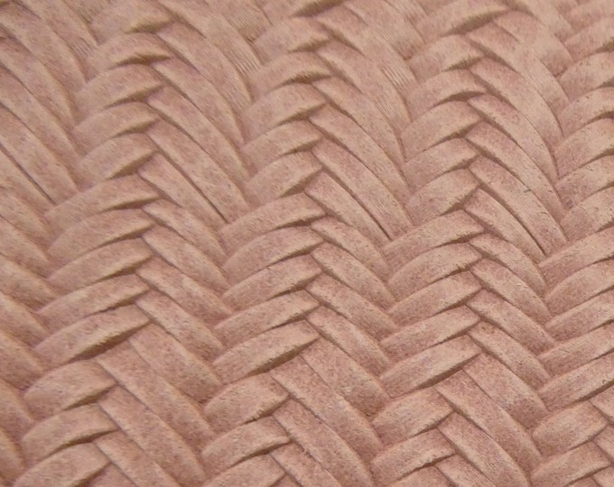 "Leather 12""x12"" Braided Italian Fishtail CAMEO PINK Cowhide 3-3.5 oz / 1.2-1.4 mm PeggySueAlso™ E3160-01 Hides Available"