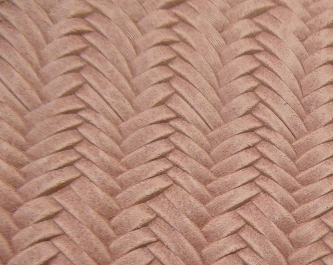 """RESTOCKED Leather 12""""x12"""" Braided Italian Fishtail CAMEO PINK Cowhide 3-3.5 oz / 1.2-1.4 mm PeggySueAlso™ E3160-01 Hides Available"""