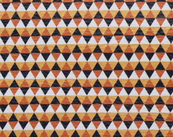 Leather CLOSOEUT various sizes AUTUMN TRIANGLES Orange Black White Cowhide 3-3.5oz/1.2-1.4mm #314 PeggySueAlso™ E4601-19