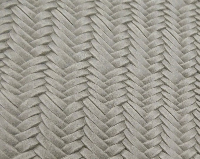 "Leather 12""x12"" Braided ITALIAN Fishtail STONEWASH Taupe  Cowhide 2.5-3 oz /1-1.2 mm PeggySueAlso™ E3160-04"