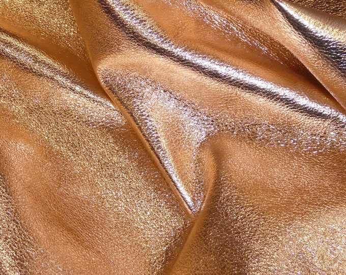 "Leather 12""x12"" NEW Shinier Version ROSE GOLD Pebbled Metallic soft cowhide - Shows the Grain 3-3.25 oz / 1.2-1.3 mm PeggySueAlso™ E4100-01B"