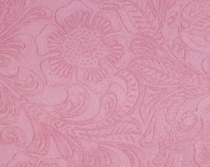 "SUEDE Leather 8""x10"" Etched Pink DAISY Floral / Flower Cowhide Totally Matte Thick 4-4.5oz/1.6-1.8mm PeggySueAlso™ E2875-10 hides too"