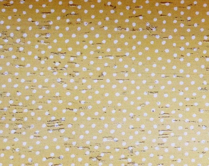 """CORK 5""""x11"""" CREAM DOTS on Dandelion Yellow Cork with Leather backing Thick 5.5oz/2.2mm PeggySueAlso E5610-332"""