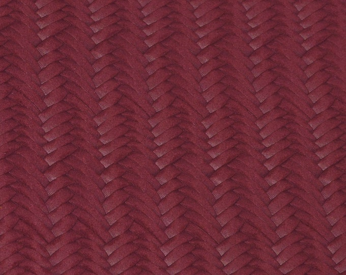 """Leather 8""""x10"""" Braided Fishtail MAROON Cowhide 2.5-3 oz / 1-1.2 mm PeggySueAlso™ E3160-60 Hides available"""