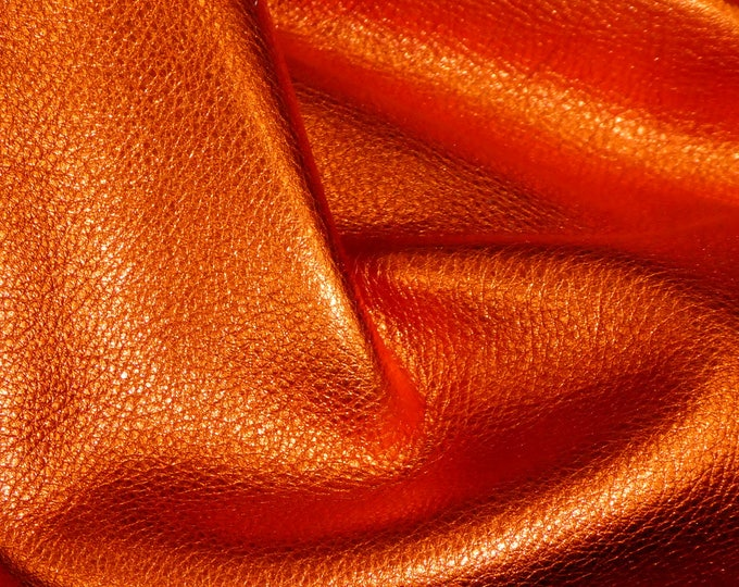 3-4-5-6 sqft New Version LOBSTER ORANGE, SHINIER Pebbled Metallic Soft cowhide shows the grain Leather 3-3.25oz/1.2-1.3mm E4100-18B