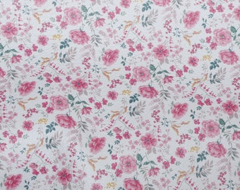 """New Pattern Leather 8""""x10"""" Field of Pink Mini AZALEAS on WHITE Floral Cowhide 2.75-3 oz/1.1-1.2 mm PeggySueAlso™ E1193-01 Trial"""