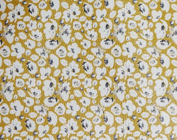 """New VERSION Leather 12""""x12"""" White POPPIES on MUSTARD Floral on Smooth leather, no pebbles! 3.5 oz/1.4 mm PeggySueAlso™ E2140-02"""