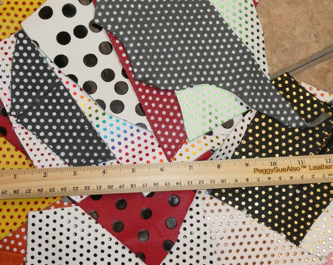 POLKA DOT Scrap Leather 4 sq ft overall Assorted colors FREE Priority Shipping (picture is an example) 2.5-3 oz / 1-1.2 mm PeggySueAlso™