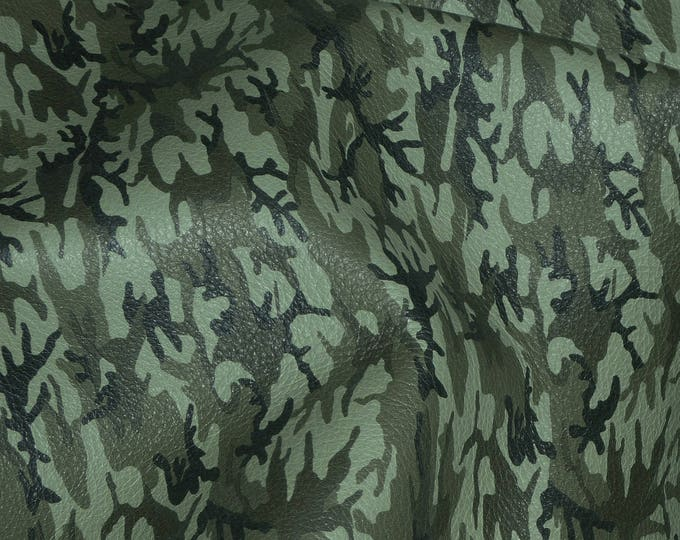 Leather 3 or 4 or 5 or 6 sq ft FERN Green MINI Camo Khaki Black Olive Grain Cowhide 2.5-3 oz / 1-1.2 mm PeggySueAlso™ E2176-13 Hides too