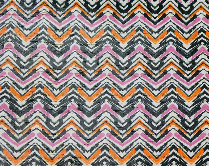 "New Cork 12""x12"" Pink Orange Black Chevron PAINT BRUSH applied to CoRK on Leather 4 body/strength Thick 5oz/2mm PeggySueAlso™ E5610-67"