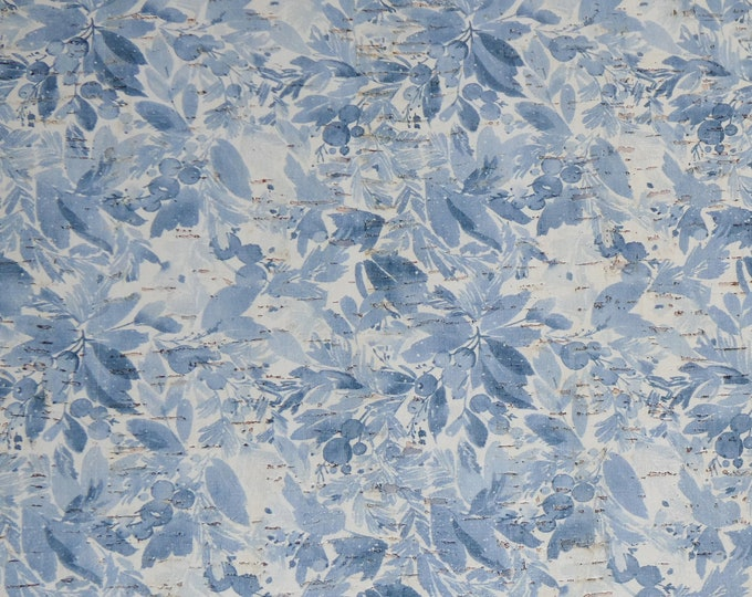 """CORK 12""""x12"""" PAINTED Blue flowers on white cork applied to Leather 4 strength Thick 5oz/2mm PeggySueAlso™ E5610-186 Winter Collection"""