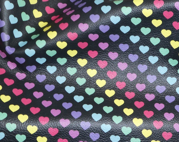 "Leather CLOSEOUT texture 5""x11"" RAINBOW Hearts on Black PEBBLED Cowhide 2.5-3 oz/ 1-1.2 mm #286 PeggySueAlso™ E1380-09"