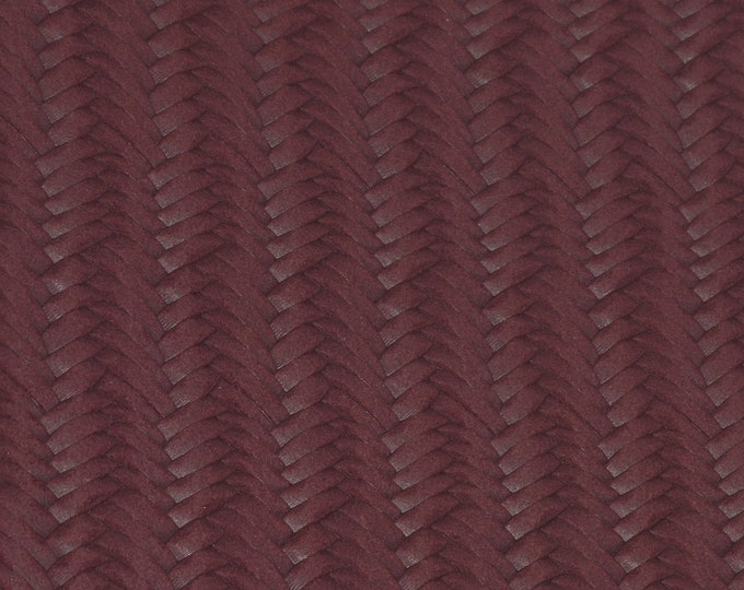 """RESTOCKED Leather 8""""x10"""" BURGUNDY WINE Braided Italian Fishtail Cowhide 2.5-3 oz / 1-1.2 mm PeggySueAlso™ E3160-33"""