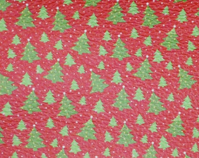 "Leather 12""x12"" Christmas TREES in the SNOW on Red Cowhide 2.75-3 oz/1.1-1.2 mm PeggySueAlso™ E1382-03 hides available"