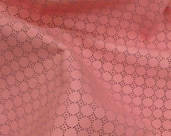 """Leather 8""""x10"""" Swiss Dot Perforated Soft PINK Bubblegum Cowhide 2-2.25 oz / 0.8-0.9 mm PeggySueAlso™ E7100-03"""