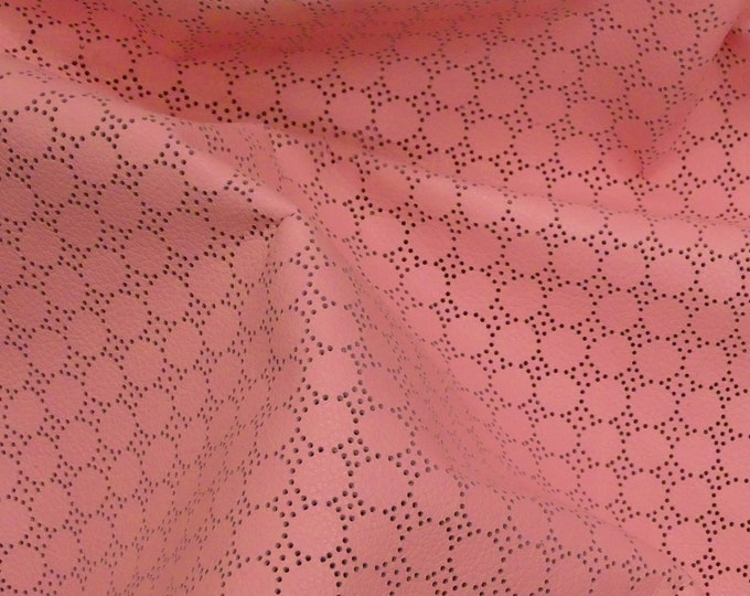 "Leather 5""x11""  Swiss Dot Perforated Soft PINK Bubblegum Cowhide 2-2.25 oz / 0.8-0.9 mm #281 PeggySueAlso™ E7100-03"
