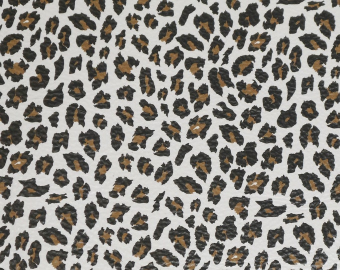"Leather 8""x10"" Chocolate KISS Cheetah Print on WHITE Cowhide (NOT hair on) 3 oz/ 1.2 mm PeggySueAlso™ E2550-19 hides available"