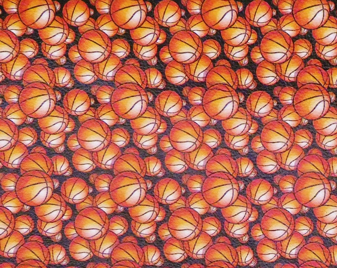 Leather 3-4-5 or 6 sq ft BASKETBALL MANIA on BLACK cowhide 2.5-3 oz / 1-1.2 mm PeggySueAlso™ E1223-02