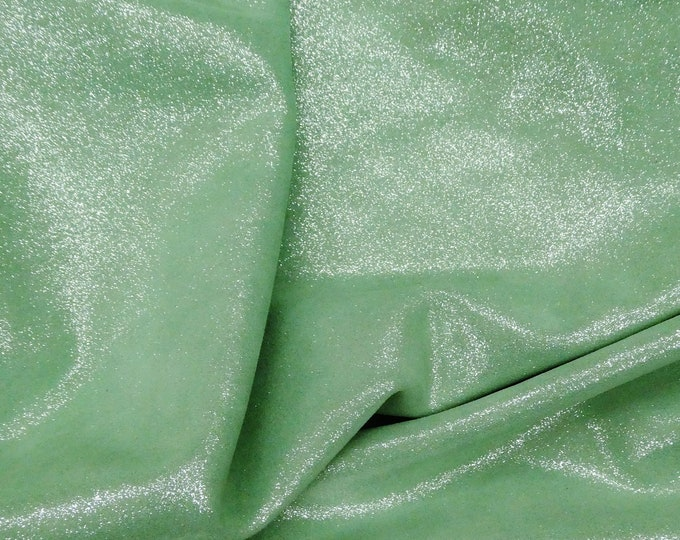 """Metallic Leather 8""""x10"""" Dazzle IRISH MINT GREEN Silver on Cowhide 3-3.25 oz / 1.2-1.3 mm PeggySueAlso™ E8300-18"""