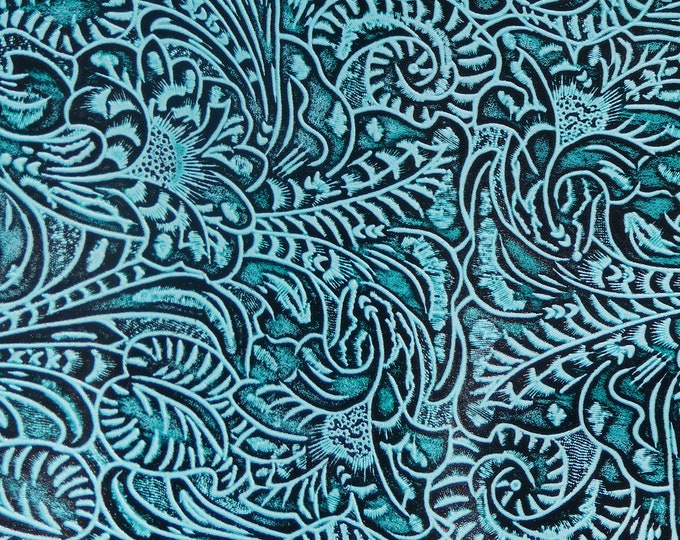 """ITS BACK! Leather 8""""x10"""" Western Tool Floral and Leaf AQUA Marine Tooled Pattern 3.5-4 oz/ 1.4-1.6 mm PeggySueAlso™ E2838-04 Hides too"""