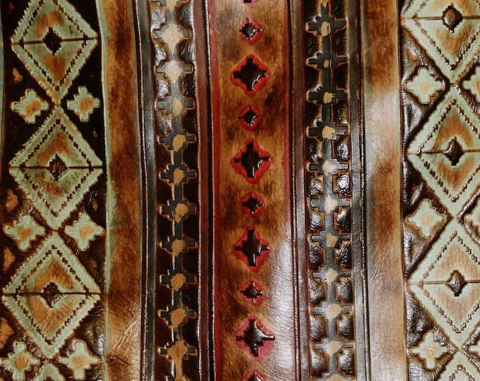 """Leather 5""""x11"""" NAVAJ0 Tribal Southwestern AQUA w/ some RED & BROWN Accents Embossed Cowhide 3 oz/1.2 mm #256 PeggySueAlso™ E2400-04 Limited"""