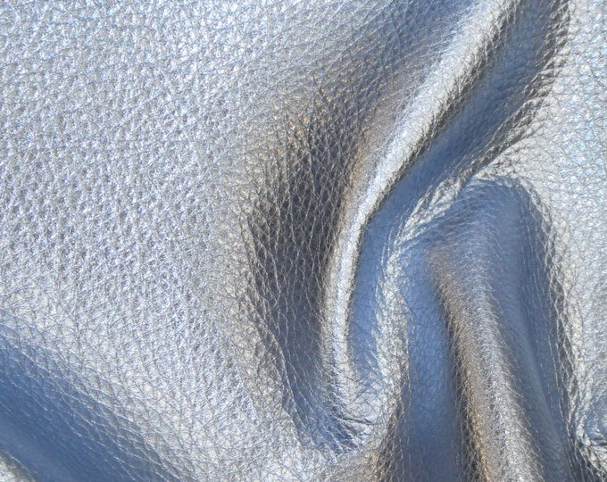 Pebbled Metallic 3 or 4 or 5 or 6 sq ft SKY BLUE Soft cowhide shows the grain Leather 3-3.25oz/1.2-1.3mm PeggySueAlso™ E4100-19 Full Hides
