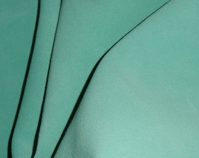 "Suede Leather 12""x12"" SEAFOAM MINT Garment Grade SUEDE Cowhide 3.5-3.75 oz / 1.2-1.3 mm PeggySueAlso™ E2827-14"